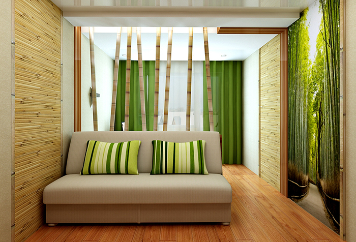 Дизайн-проект гостиной с использованием бамбуковых обоев