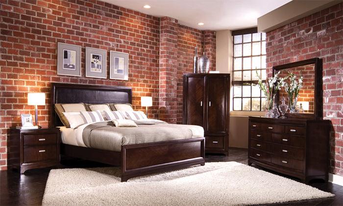 Бумажные обои под кирпич в интерьере спальни