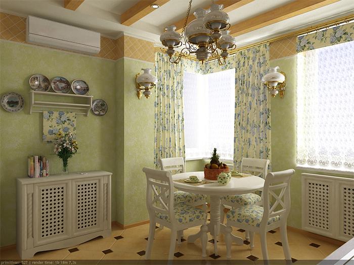 Сочетание цветов и узоров в обоях для кухни в стиле прованс