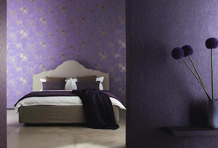 Фиолетовые обои для спальни