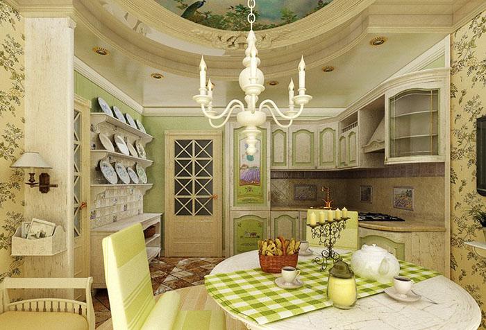 Кухня в стиле прованс в зеленых тонах