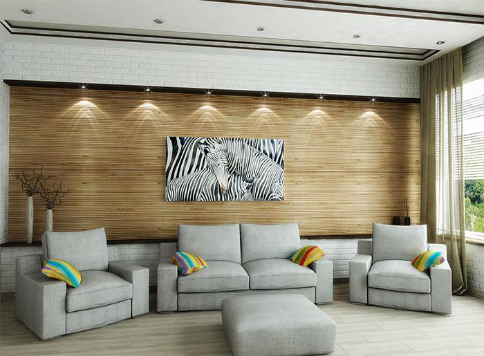 Бамбуковые обои в зале