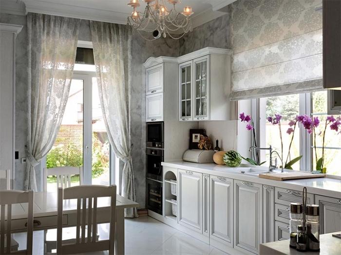Классические обои для интерьера кухни с элементами прованса