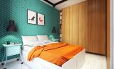Бирюзовая стена в спальне