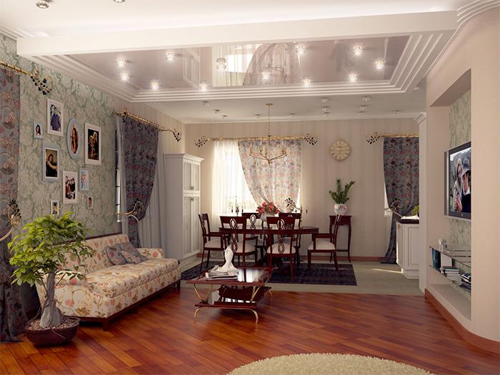 Гостиная и столовая в стиле прованс
