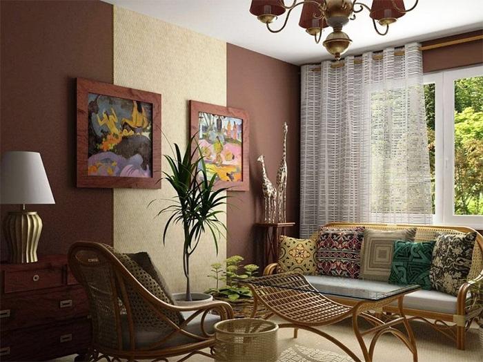 Однотонные обои в гостиной в колониальном стиле