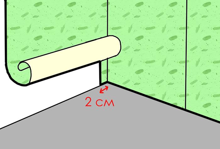 Схема оклейки угла обоями