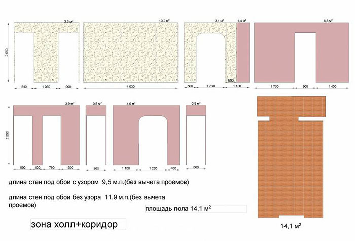 Схема подсчета количества обоев без учета проемов