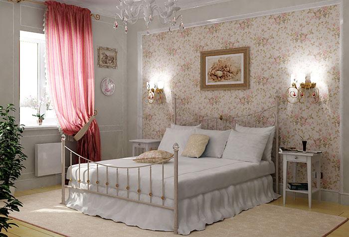 Комбинирование обоев в спальне в стиле прованс