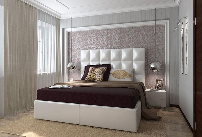 интерьер в спальне с темными обоями