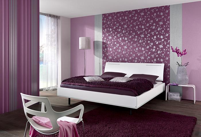Обои в спальне в фиолетовых тонах