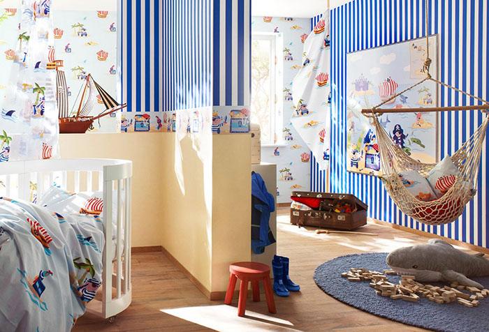 Комбинированная отделка в детской комнате