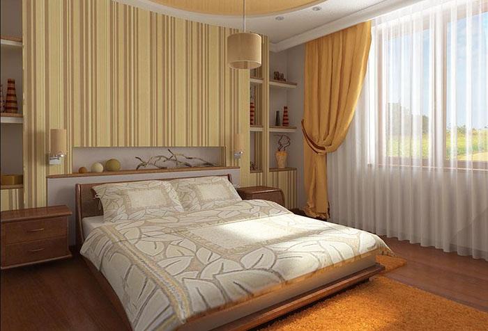 Желтые обои в маленькой спальне