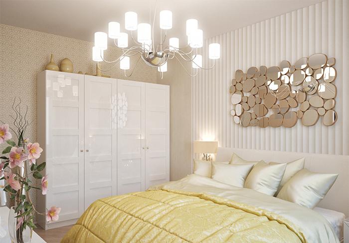 Светлые обои в спальне с комбинированными обоями в полоску и вензельный узор
