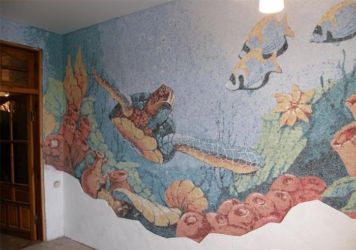Картина с изображением морского мира из жидких обоев для гостиной
