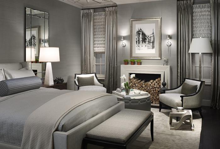 Монохромный серый интерьер спальни