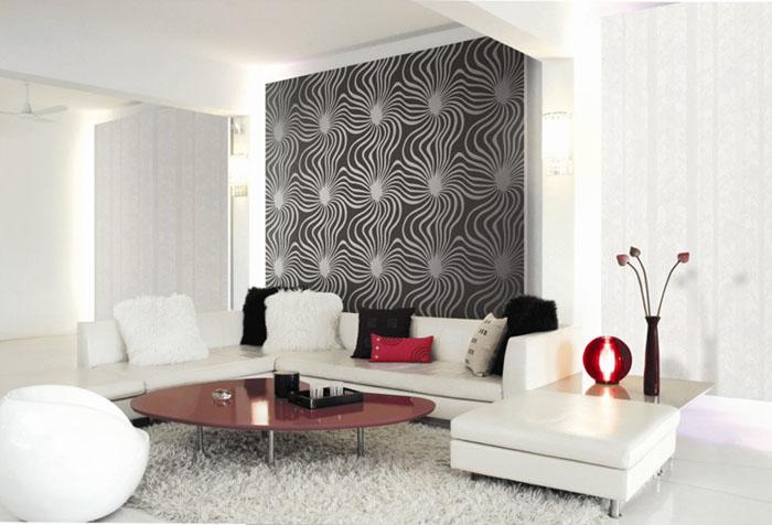 Белая мебель для гостиной на фоне серых обоев