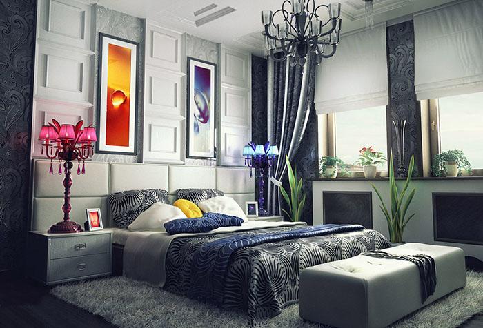 Интерьер спальни с серыми шторами и обоями