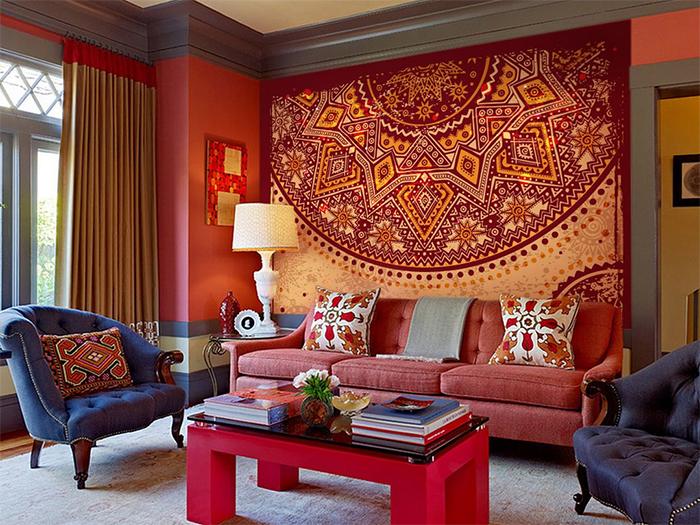 Создание стиля в гостиной комбинацией обоев