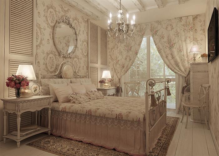 Классическое решение в оформелнии спальни в стиле прованс