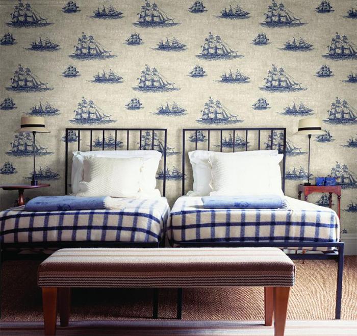 Стильная спальня в морском стиле