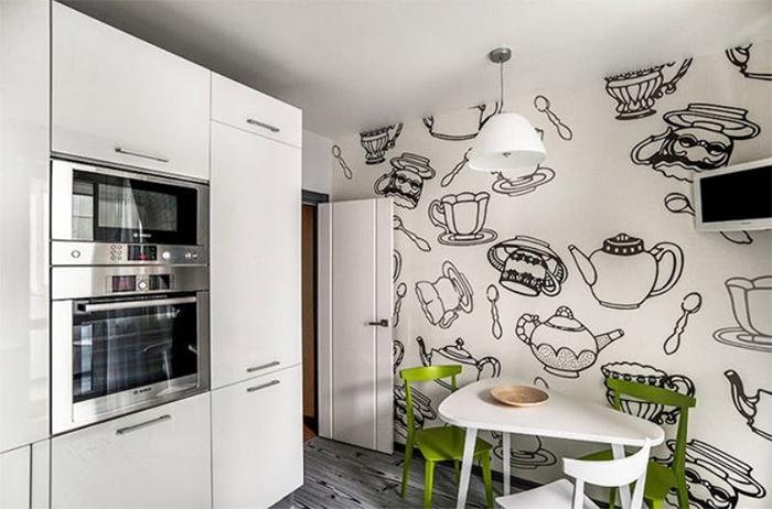 Черный контурный рисунок на белом фоне - отличное решения для кухни