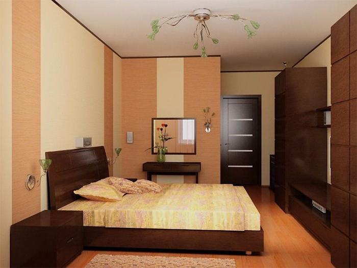 Комбинированные обои для изменения объема спальни