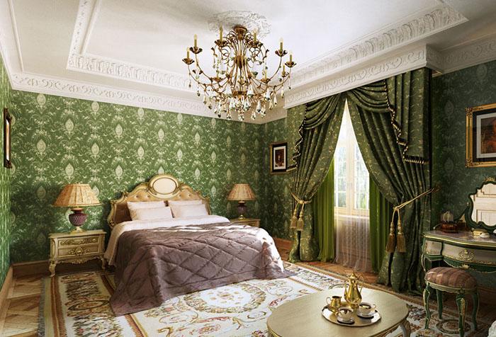 Зеленые обои в классической спальне
