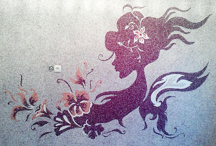 Рисунок на стене из жидких обоев