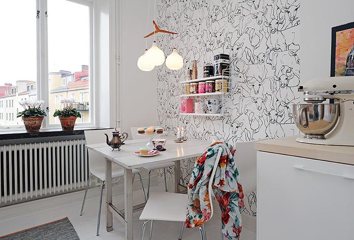 Шведские обои на кухне