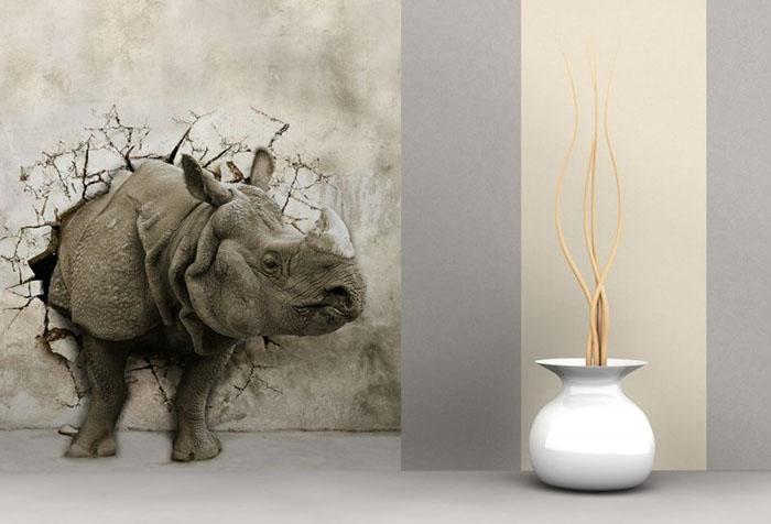 Реалистичные фотообои с носорогом