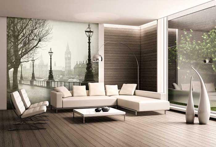 Фотообои с городским пейзажем в гостиной