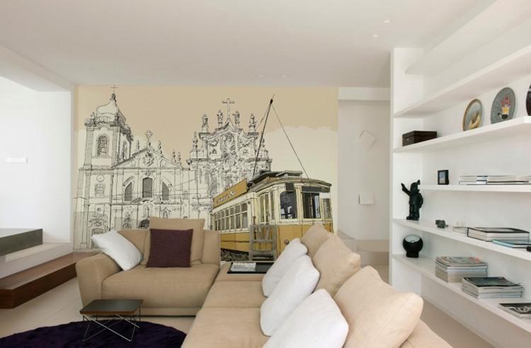 Фотообои с изображением города в интерьере гостиной