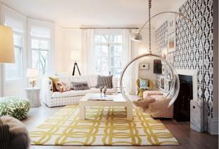 Советы по комбинированию обоев для гостиной