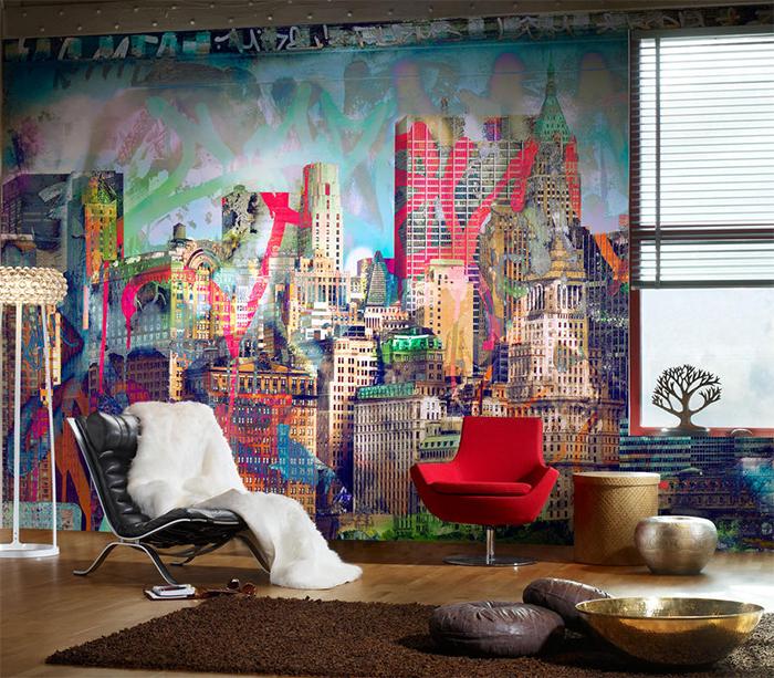 Изображение города на фотообоях в стиле импрессионизма