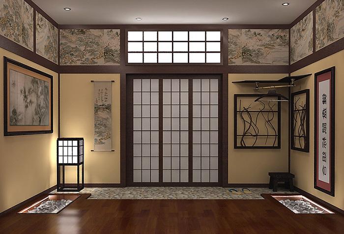 Освещение в японской гостиной