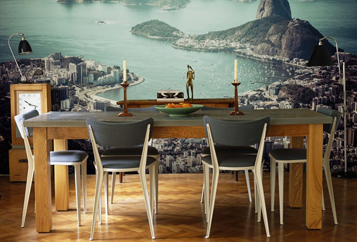 Фотообои с пейзажем в столовой