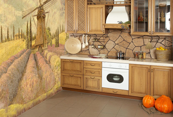 Фото интерьера кухни с фотообоями