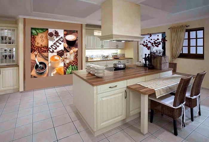 Необычная вставка из фотообоев на кухне