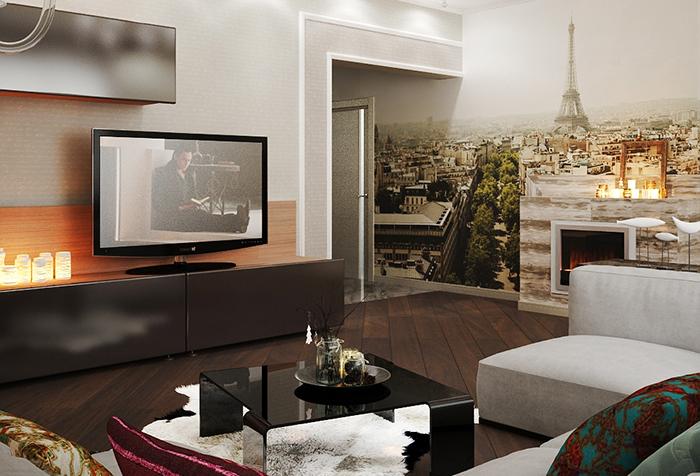 Фотообои с видом Парижа в гостиной