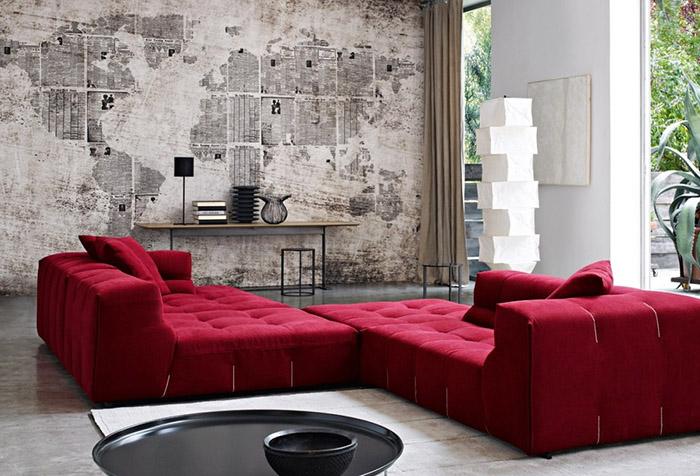 Фотообои с имитацией текстуры старой карты в гостиной