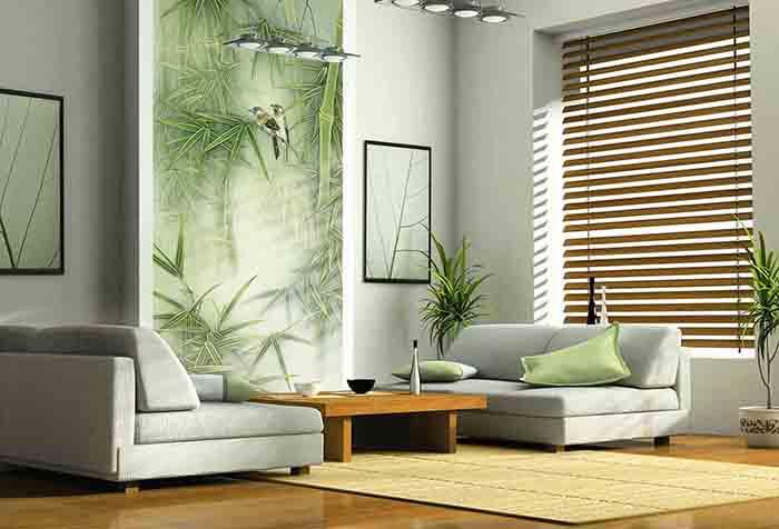 Фотообои с имитацией китайской живописи в зале