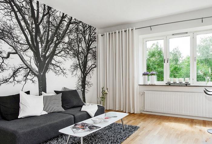 обои дерево в гостиной