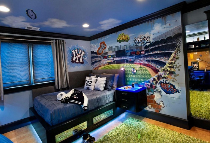 обои с изображением стадиона в комнате подростка
