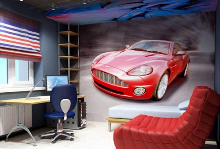 обои с изображением машины в комнате подростка