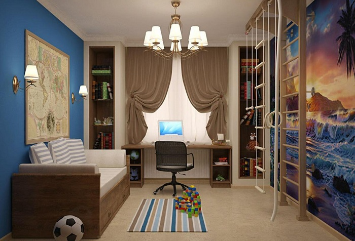 комната для подроста с обоями море