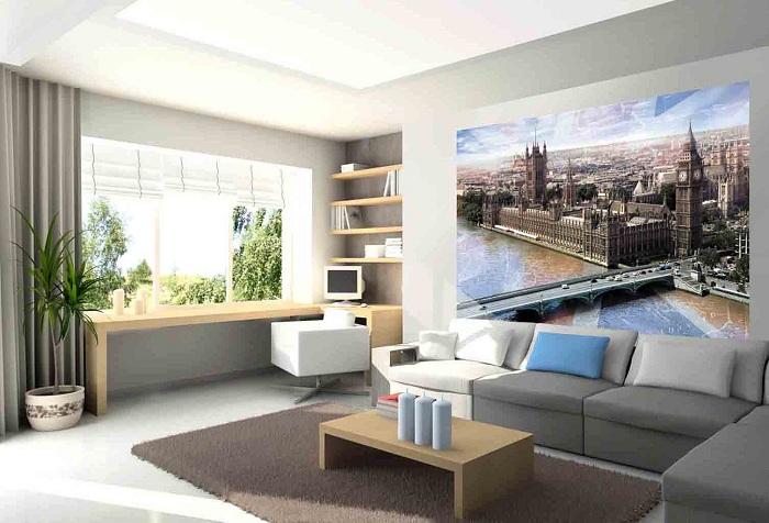 обои с изображением города в гостиной