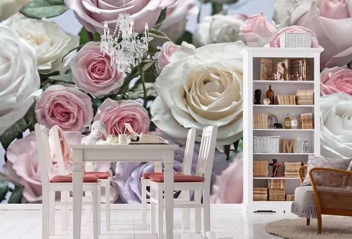 3d обои с изображением чайных роз