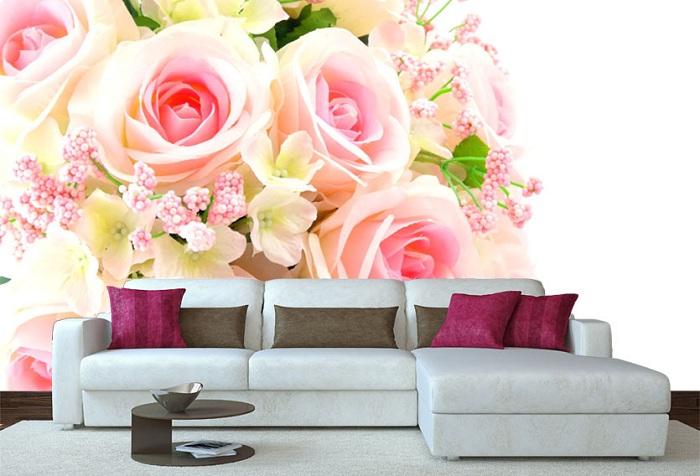 3d обои в гостиной с изображением чайных роз