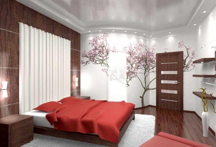 обои с изображением дерева в спальне